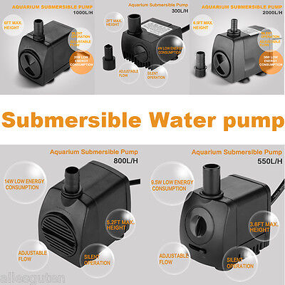 300-2000L/H Aquarium Submersible Water Pump Fish Tank Pond Powerhead Feather New