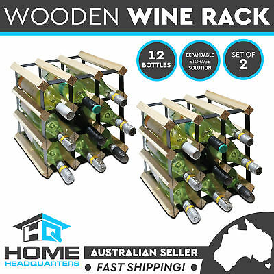 2x 12 Timber Wine Rack Bottles Home Storage Organizer Barware Wooden Metal