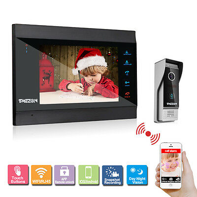 Tmezon 7 Inch LCD Monitor WIFI Video Intercom Doorbell System Door Phone Bell