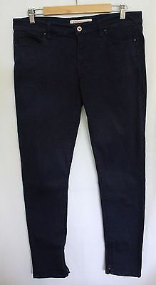 COUNTRY ROAD ~  Dark Blue Coloured Cotton Stretch Skinny Jeans w Zip Ankles 14