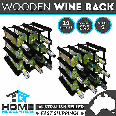 2x 12 Black Timber Wine Rack Bottles Home Storage Organizer Barware Wooden Metal