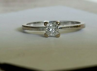 18ct white gold princess cut solitaire diamond ring 0.33ct