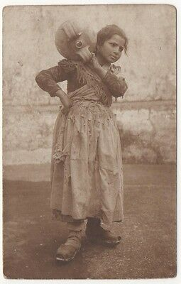 Italy, Naples. Neapolitan Girl with a Jug Character Postcard