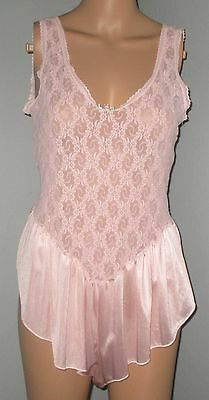 Vintage Pink Sheer Nylon Stretch Lace Bodice 1 Piece Step In Teddy Lingerie 1X