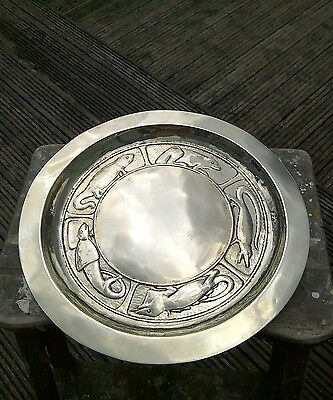 Unusual Silver Plated Vintage Arts And Crafts Tray