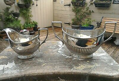 Antique Silver Plated Milk Jug And Sugar Bowl