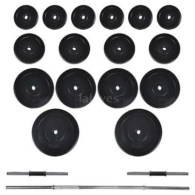 New Barbell + 2 Dumbbell Set 60.5kg Weight Discs Workout Homegym Fitness A8A6