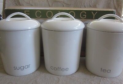 3 ECOLOGY CANISTERS Tea, Coffee,Sugar white porcelain BOX