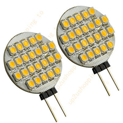 2pcs G4 Base 24 SMD LED RV Camper Marine Warm white Light Bulb Lamp 12V DC