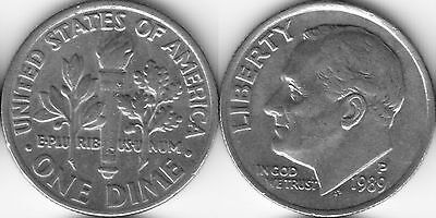 USA 10 Ten cent coin Dime 1989