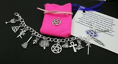 Protection Pagan Charm Bracelet Wand Broom Talisman Amulet Wicca Witch Pentagram