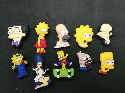 10 x The Simpsons Crocs Shoes Charms Croc Accessories Jibbitz Wristbands