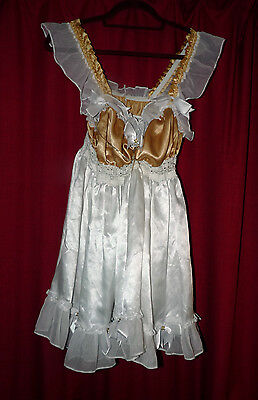 gold cream satin & lace dress with shaped breast forms Tv sissy maid xl