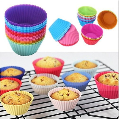 12x  Round Soft Silicone Cupcake Muffin Chocolate Bakeware Liner Baking Cup Mold