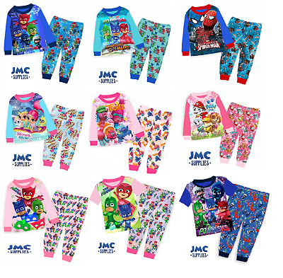 PJ Masks Pyjamas Trolls PJs Kids Boys Girls Short/Long sleeve 1-7 years old UK