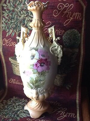 Antique Large Porcelain Vase with Ram Head Handles
