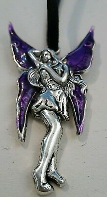 Fairy Pendant Large Necklace On Black Thong Purple Pagan Fairy Folklore Gift B7