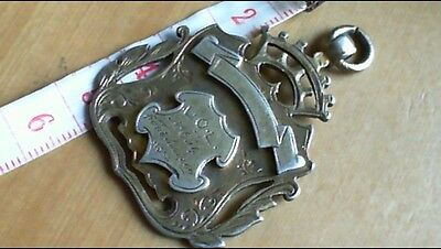 huge heavy antique victorian solid sterling silver pocket watch fob.3.1896