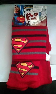 Brand New - Kids Knitted, Superman Hat, Scarf, and Glove set, 3-7 Years, XMAS