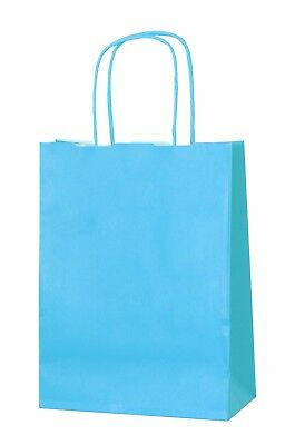 LIGHT BLUE  PAPER PARTY BAGS GIFT CARRIER BAGS WITH HANDLES LOOT 18 x 22 x 8cm