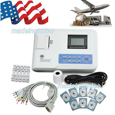 Digital ECG Machine Portable one-channel 12-lead EKG Machine+Printer FDA Approve