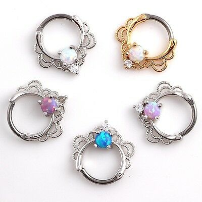 Single Opal Septum Clicker Surgical Steel Pierce Nose Ring Body Piercing Jewelry