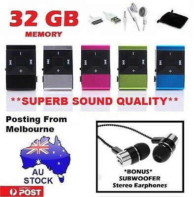 **AU STOCK 32GB Metal USB Clip On Portable MP3 Music player + Stereo Earphones**