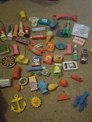 Large Collection Of Vintage Novelty Pencil Erasers Rubbers - 1980's
