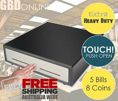 GBD Heavy Duty Manual Cash Drawer TOUCH Push Open w/ Stainless Steel Front
