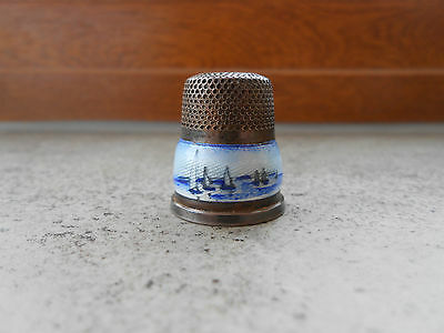 ANTIQUE BLUE ENAMEL STERLING SILVER THIMBLE - 925 L -  Windmill / Trees / Boats