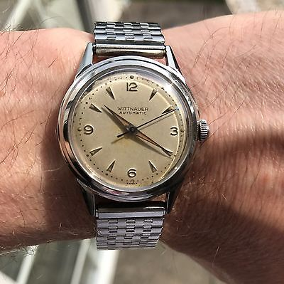 Superb vintage 1940's swiss made Wittnauer explorer dial bumper automatic watch