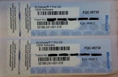 Genuine Windows 7 Pro 32 / 64Bit Original License Key With Coa Sticker Scrap Pc