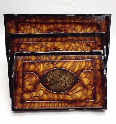 Dining Wooden Vintage Tea Coffee Serving Tray Dark Brown Set of 3 with Handles
