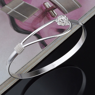 925 Sterling Silver Plated Charm Women Cherry Blossom Bangle Cuff Bracelet Gift
