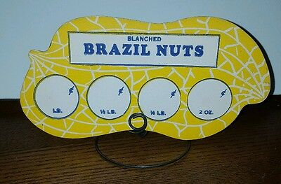 1940 New Old Stock Country Store Peanut Sign On Metal Stand Blanched Brazil Nuts
