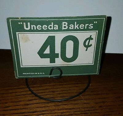 """1940s NEW OLD STOCK COUNTRY STORE COOKIE SIGN ON METAL STAND UNEEDA BAKERS 3"""""""