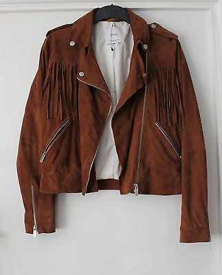 New MANGO brown tassel leather/ suede jacket, size S, 8, 10