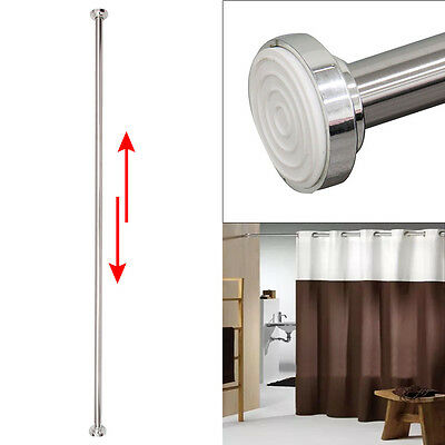 Telescopic Extendable 125-220cm Wardrobe Doors Bath Shower Curtain Rail Rod Pole
