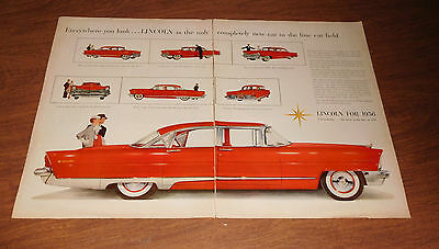 Original 1956 Lincoln 2 page car ad red