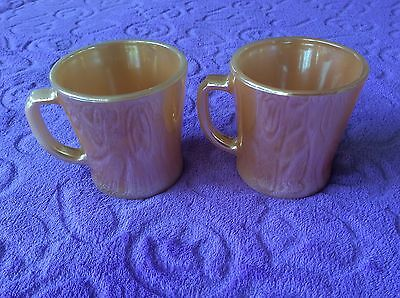 2 Fire King Peach Lustre Mugs Anchor Hocking Vintage Retro - great condition