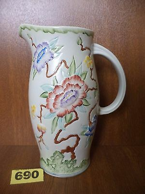 24 cm H.J Wood Ltd Art Deco Hand Painted 2.5 Pint Jug / Pitcher - Chinese Rose