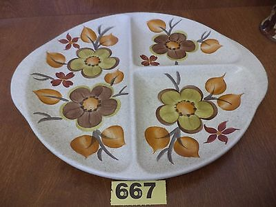 E. Radford Art Deco Hand Painted 3 Section Serving Dish / Bowl / Tray / Plate