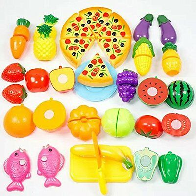 Formula? 24Pcs Plastic Fruit Vegetable Kitchen Cutting Toy Early Development and