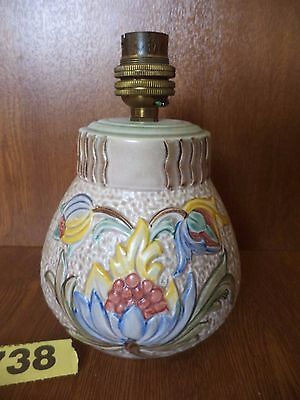 E. Radford Art Deco Hand Painted Floral Lamp Base - Pink / Yellow / Blue / Red