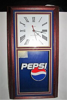 "NEW Pepsi Cola Pendulum Wall Clock by Hanover 24"" x 13"" Wood Frame Excellent"