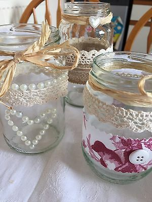 Wedding Candle Flower Jar Holders Shabby Chic Vintage Table Centrepieces X 10