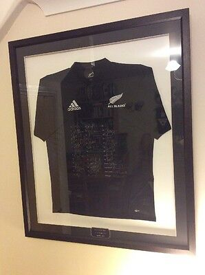 Fully Signed Framed New Zealand All Blacks Rugby Union Shirt & Plague
