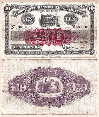 1934 £10 Provincial Bank of Ireland Limited, Northern Ireland.  Fine condition
