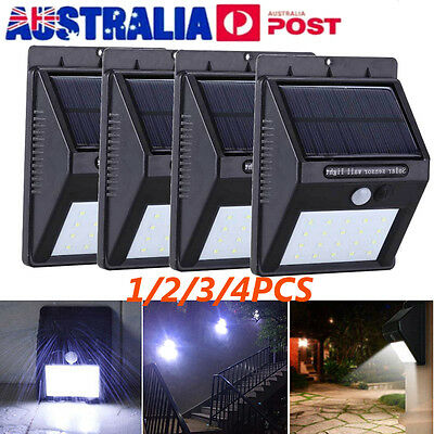 4X 20 LED Super Bright Solar Power PIR Motion Sensor Garden Wall Path Light Lamp