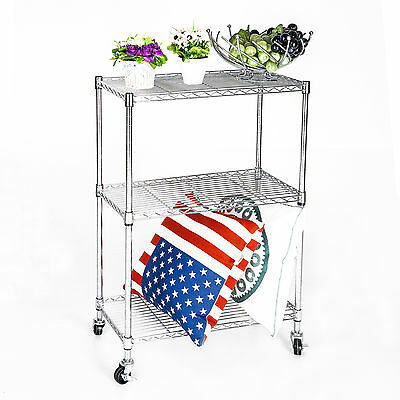 3 Tier Heavy Duty Chrome Wire Shelving Rack Cart Unit w/Casters Shelf Wheels